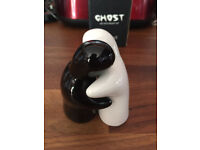 Ghost Hugging Black And White Salt And Pepper Shakers /Pots Boxed