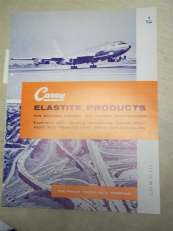 Philip Carey Mfg Co Catalog~Elastite~Sewertite Compound Asbestos~1961
