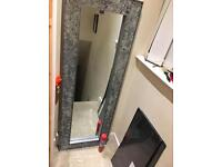 Long silver crackled glass mirror