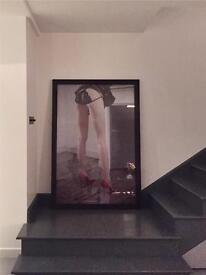 Girl at fireplace - very large framed photo