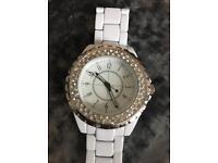 White diamanté watch never worn needs battery