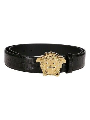 Versace Palazzo Medusa belt embossed crocodile effect,Black,Made in Italy, 90cm