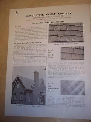 Vtg Usg United States Gypsum Catalog Insert Pages Asbestos Shingles Siding 1939