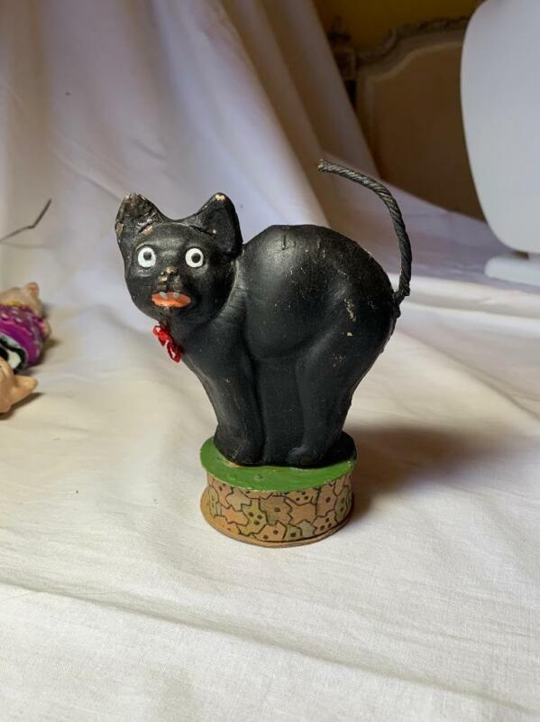 Black Cat Halloween Candy Container RARE German c1920