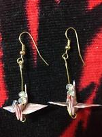 Handcrafted pink origami crane earrins