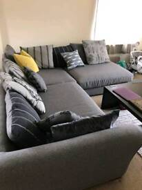 DFS grey corner sofa with scatterback cushions