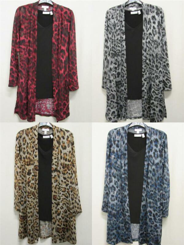 New Susan Graver Foil Printed Leopard Jaguar DUSTER + TANK 2-pc SET Womens XS-3X