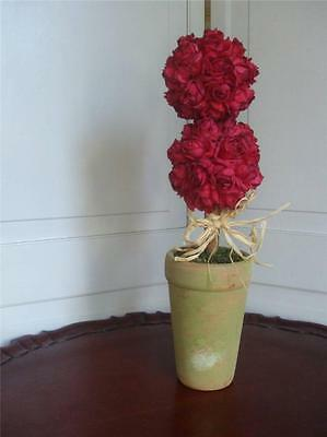 Double Ball Small Silk Red Rose Topiary Artificial Floral Terracotta Pot 16.5