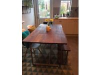 Kitchen Table Modern industrial style with copper piped legs - seats 6-8