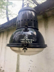 Vintage Huge Industrial Factory Pendant lamp with Great Design & Safety Glass