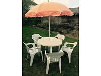 Summer Garden Set - White Plastic Table and Chairs 🌞🌷☀️🍹🍴