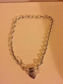 Sterling silver Tiffany style necklace and bracelet