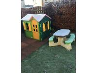 Little Tykes Playhouse and Step 2 Picnic Bench