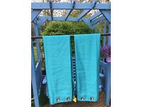 Teal blue turquoise eyelet curtains fabric leather bed warm tablecloths