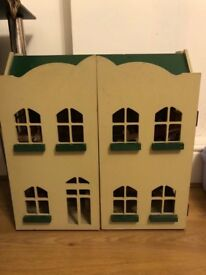 Large wooden doll House with furniture vgc