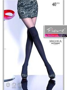 FIORE-Miguela-40-DENARI-Collant-Velato-Nero-Disegno-Finte-Calze-Autoreggenti