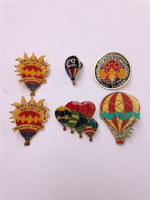 Lot of 6 Vintage Enamel Hot Air Balloon Clutch Back Lapel Pins Enamel Hot Air Balloon
