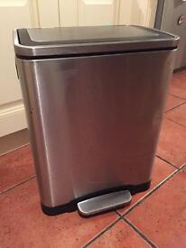 Large dual pedal bin. Standard and recycling