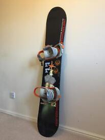 Snowboard, bindings, boots and gloves for sale