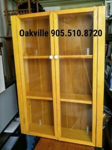 Oakville Wood And Glass Display Cabinet Cupboard Blonde Pine Wooden Furniture Small 27x36x7
