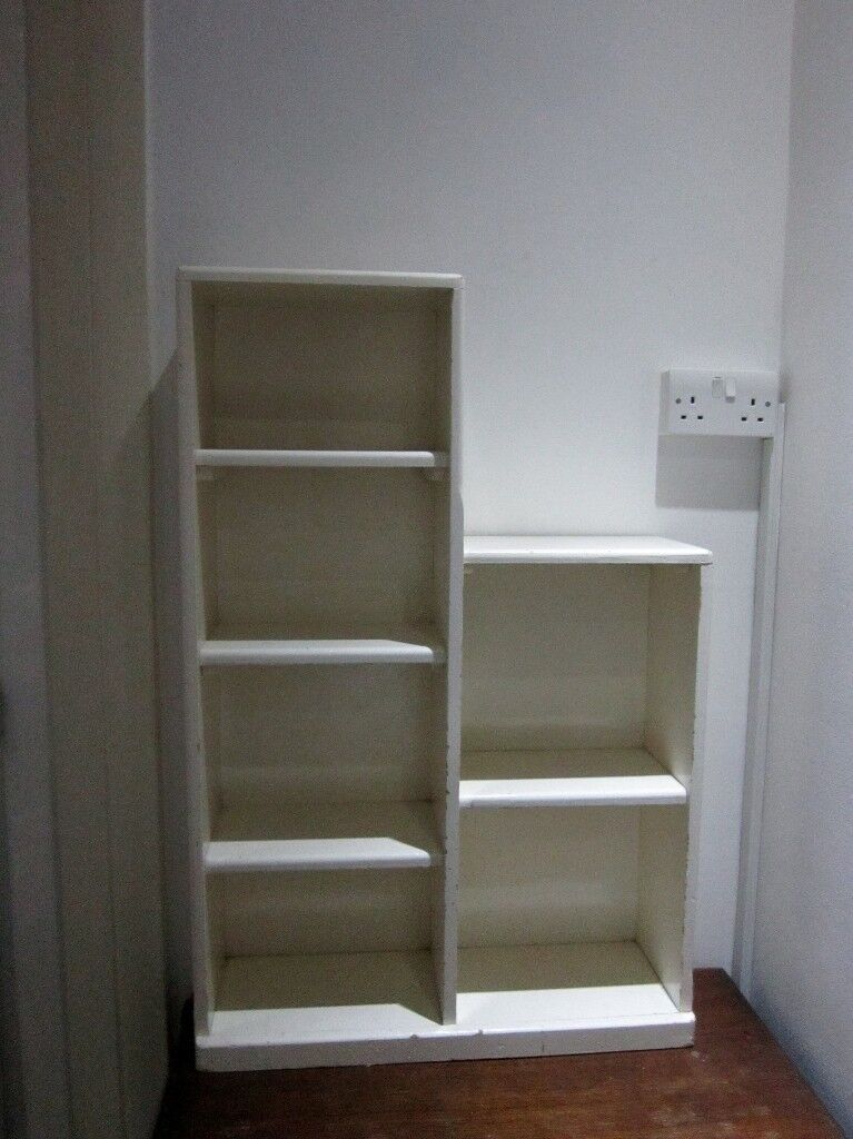 Vintage Small White Painted Solid Wood Bookshelf (Pick up)