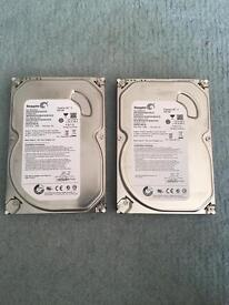 750gb & 2x500GB Seagate hard drives