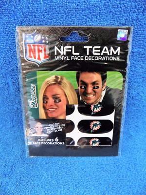 Miami Dolphins NFL Team Logo Eye Glare Black Vinyl Face Sticker Strips Set of 2  - Miami Dolphins Black Face