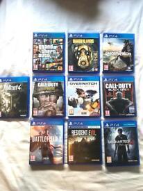 *PS4 GAMES BUNDLE; COD WW2, OVERWATCH, GTA 5, BO3, UNCHARTED 4, BATTLEFIELD 1, FALLOUT 4