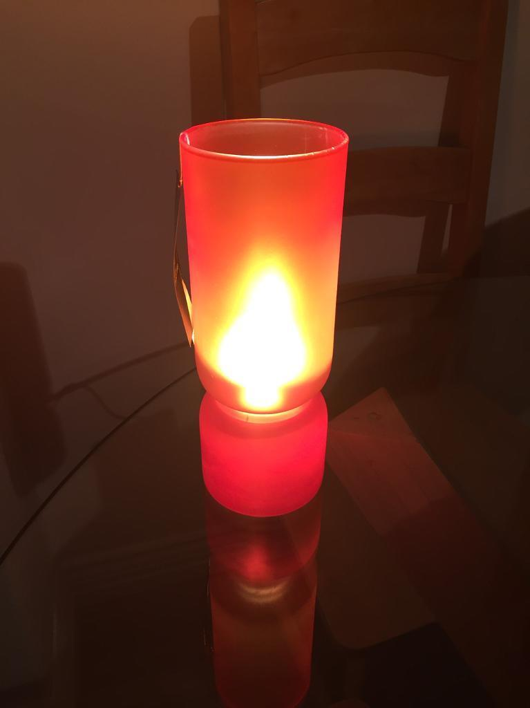 2 x Next orange glass lamps