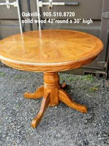 Solid Wood Dining Table Round Pedestal 42x30 High Maple Stain No Chairs