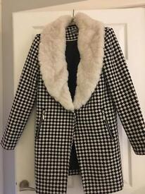 Apricot Check & Faux Fur Winter Coat
