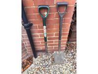 Garden spade and fork set