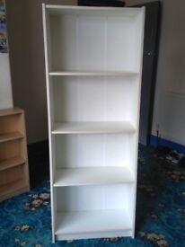 Large Bookcase White Deep Shelves Large Book Case 4 Fixed Position Shelves 161cm x 24cm x 60cm