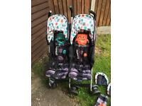 Cosatto twin stroller pushchair double buggy supa dupa cuddle monster in great used condition