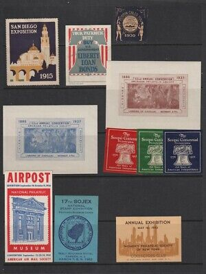 US Philatelic  Exhibition Cinderellas Poster Stamps 1915-1952 4 Pages