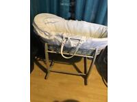 Grey Moses basket with Grey stand