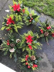 Christmas cemetery grave pots