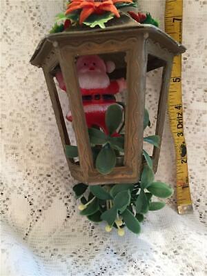 Vintage Gold Plastic Blowmold Lantern w Santa Mistletoe & Poinsettias 9 In. Hang