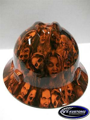 Orange Walking Dead Pattern Full Brim New Custom Msa V-gard Hard Hat Wfastrac