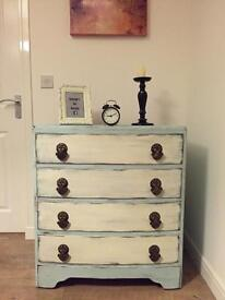 Unique vintage upcycled chest of drawers in duck egg and old white finish