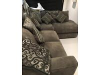 Rt Hand, 4 Seater Corner/Chaise End Sofa Bed + Swivel Chair & Storage Stool