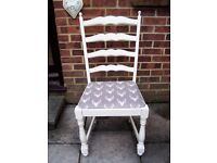 Fabulous Ladderback Dining/Living Chair painted in any colour & reupholstered in any fabric