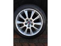 """Saab alloy wheels 4x 17"""" ALU39 with good tyres"""