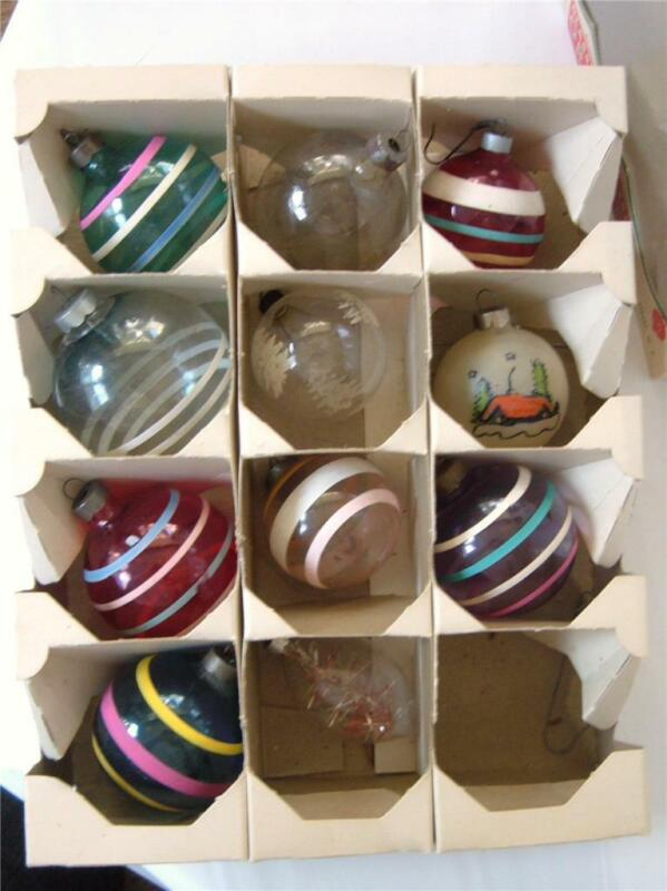 11 Vintage Shiny Brite Glass Xmas Ornaments Unsilvered Stripe Tinsel Cabin WWII
