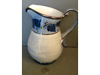 blue and gold water jug