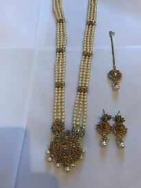 Long pearl necklace set (bridal /costume)