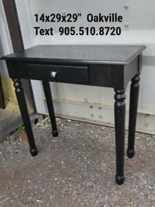 "Oakville 14x29x29"" Black High Table or Writing Desk One drawer"