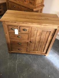 Solid oak storage cupboard sideboard with drawers