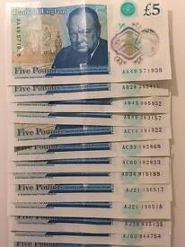 Polymer Five Pounds Notes - various serial numbers