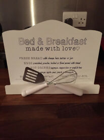 White Bed And Breakfast Made With Love Wooden Sign